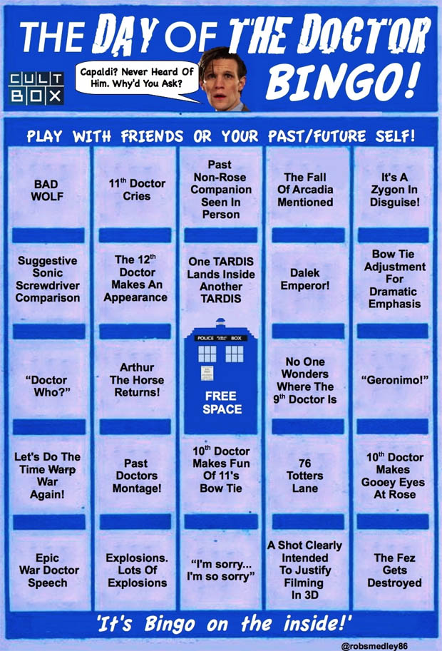 Doctor Who Bingo Cards For The Day Of