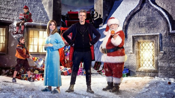 The Doctor, Clara, and Santa Claus in