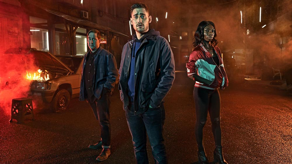 The Aliens Michaela Coel, Michael Socha and Jim Howick