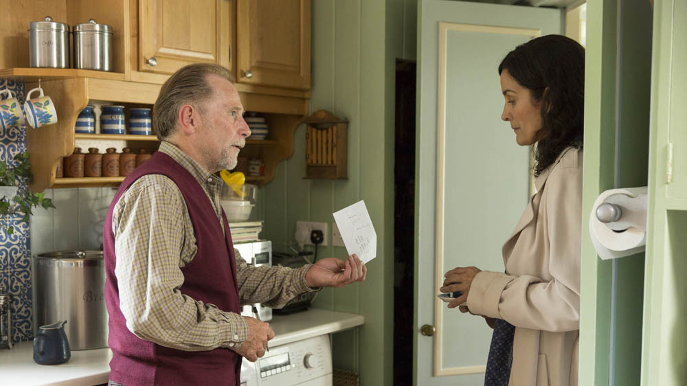 Humans 2 3 Hobb (Danny Webb) and Dr Athena Morrow (Carrie-Anne Moss)