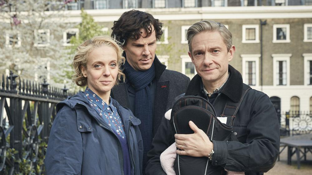 Sherlock 4 1 Mary Watson (AMANDA ABBINGTON), Sherlock Holmes (BENEDICT CUMBERBATCH), Dr John Watson (MARTIN FREEMAN)