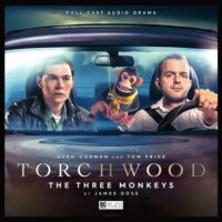 Cover of the October 2020 Big Finish Torchwood audio The Three Monkeys