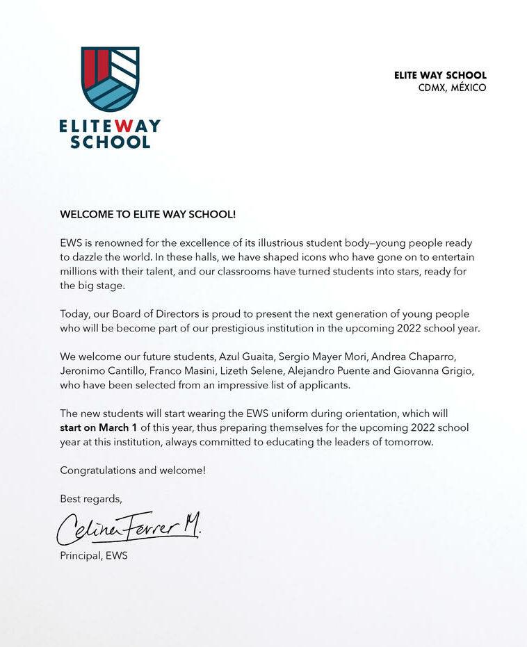 Elite Way School Cast Announcement